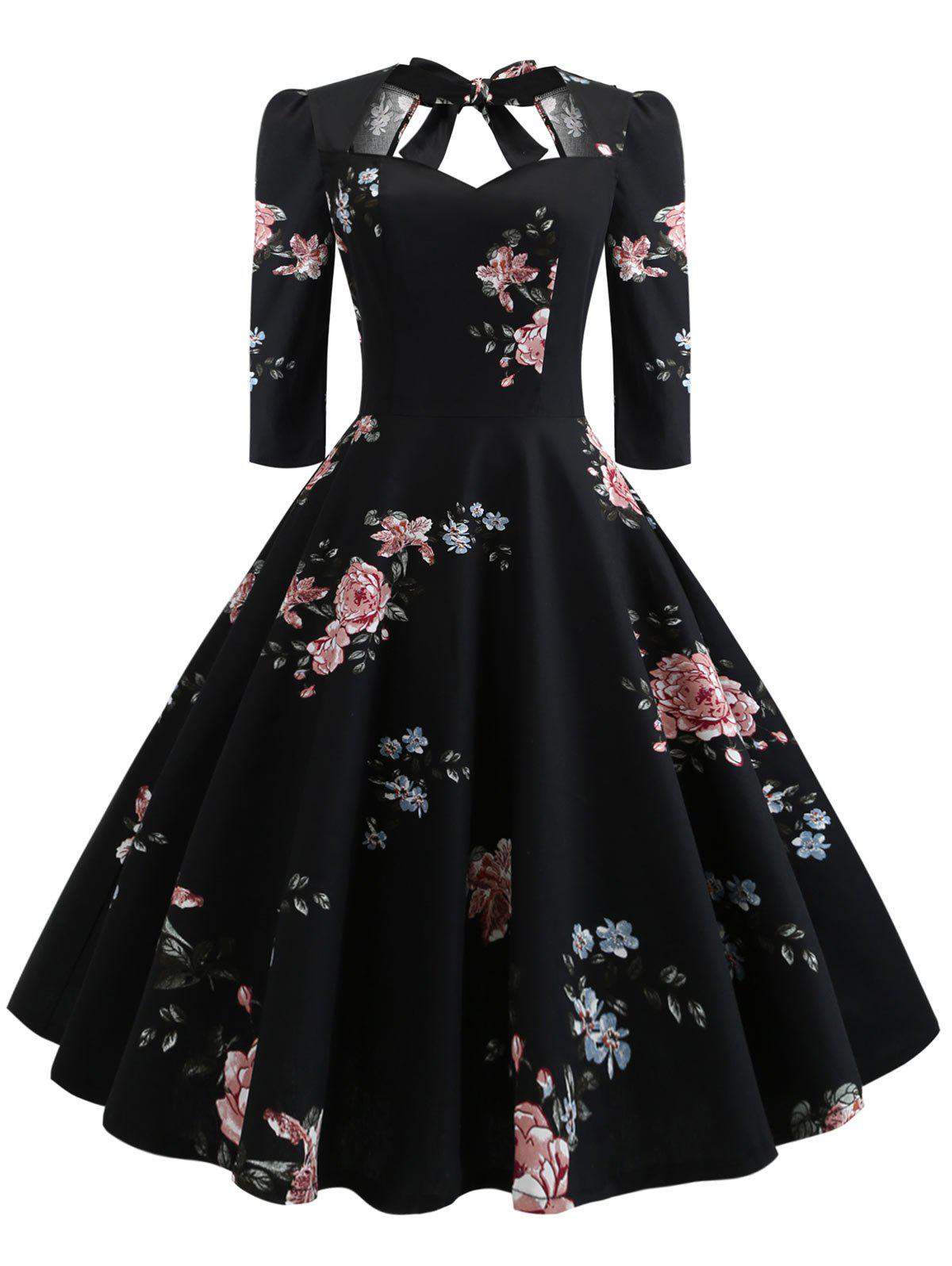 Plus Size Floral Print Back Tie Pin Up Dress - BLACK 1X