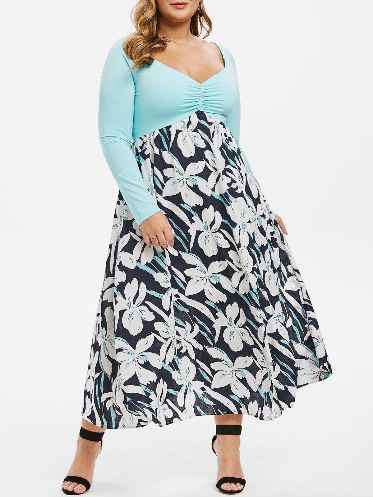 Plus Size Raglan Sleeve Pleated Front Floral Dress - multicolor 3X
