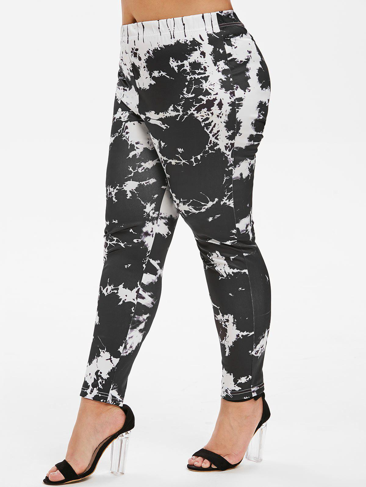 Marble Print High Waisted Skinny Plus Size Pants - BLACK L
