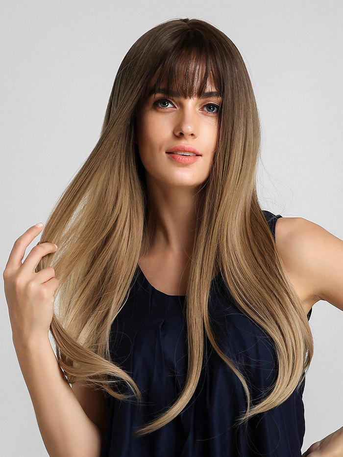 Synthetic Long See-through Bang Ombre Straight Wig - multicolor