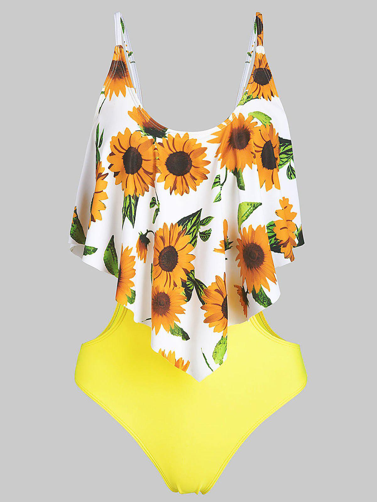 Sunflower Overlay Monokini Swimsuit - YELLOW L