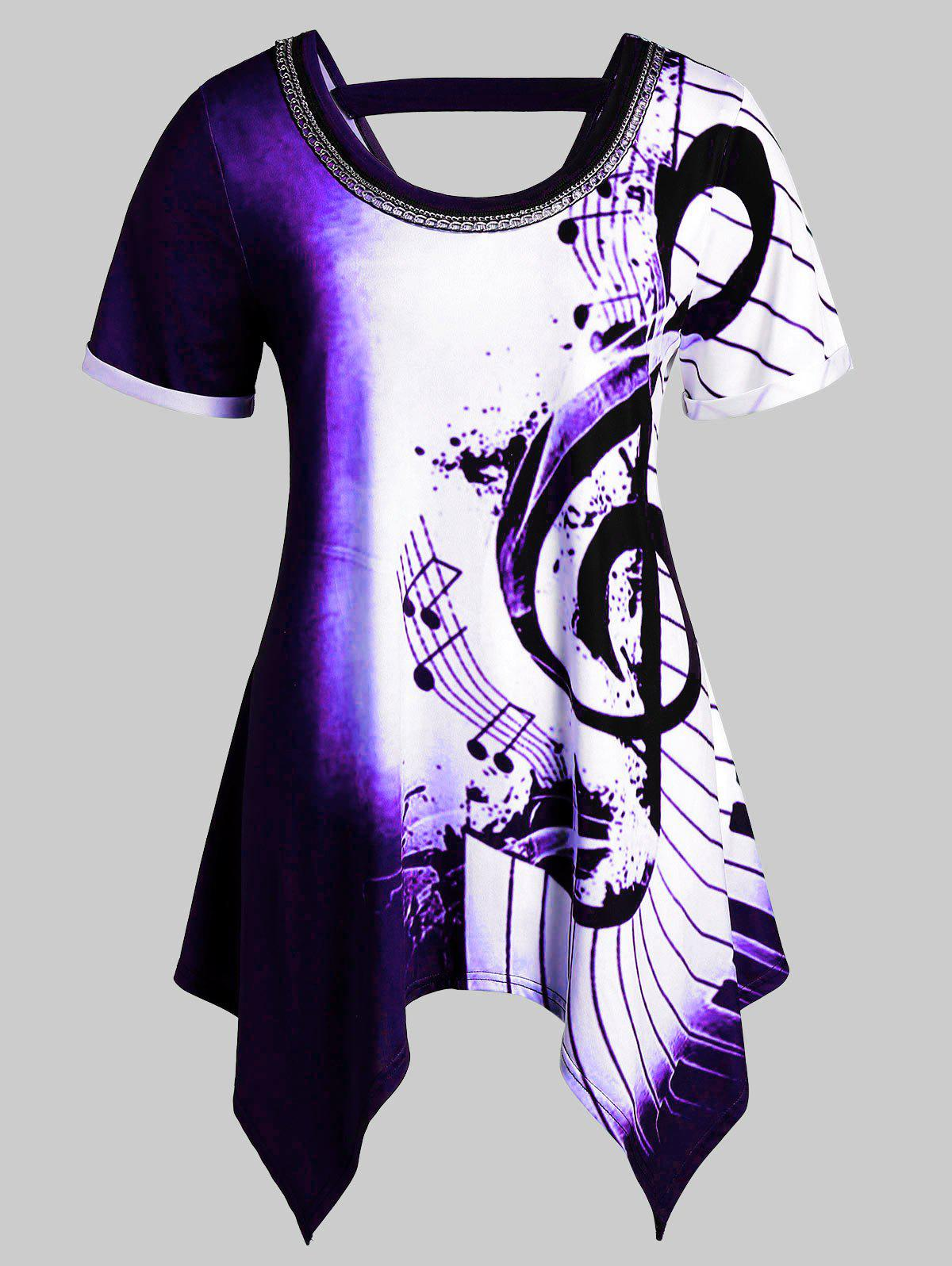 Plus Size Asymmetrical Musical Notes Print Chains Embellished Tee - multicolor E 2X