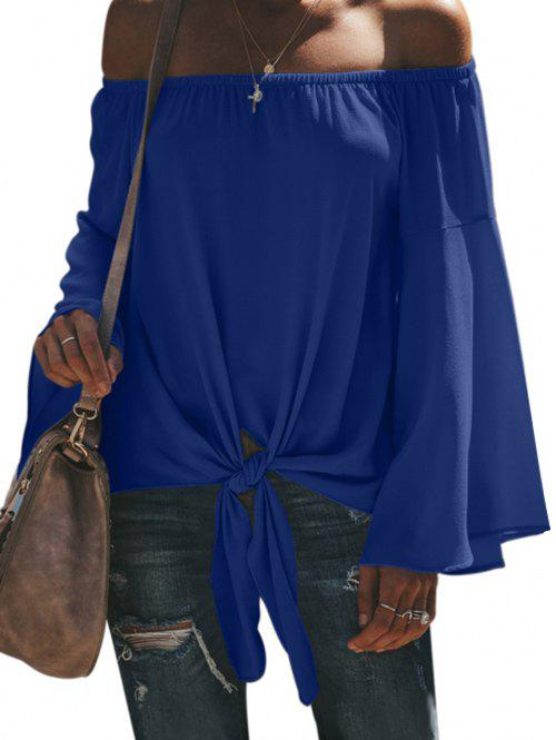 Exposed Shoulder Bell Sleeve Knot Hem Blouse - BLUE S