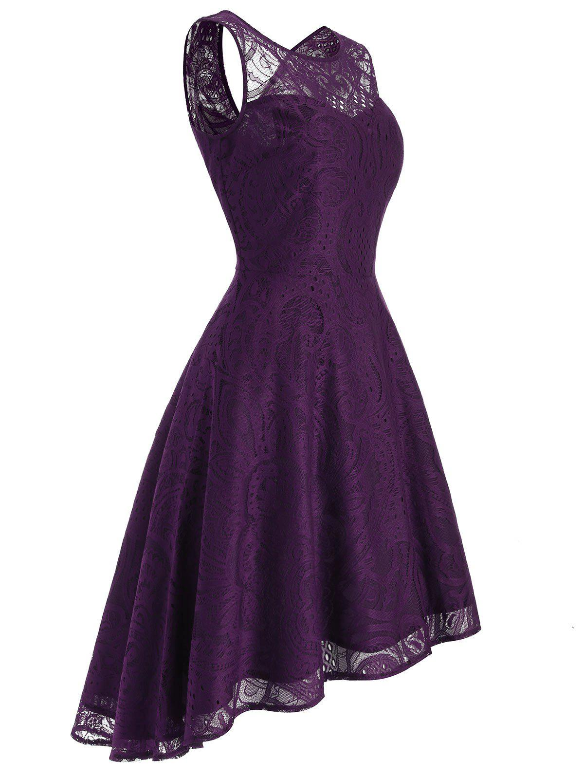 Lace Sleeveless High Low Prom Dress - DARK ORCHID 2XL