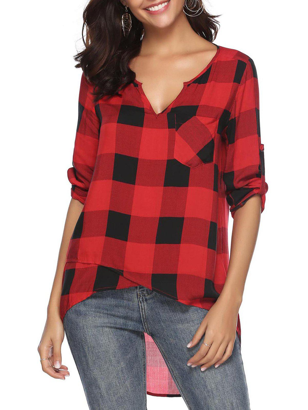 Roll Tab Sleeves Plaid High Low Blouse - RED S