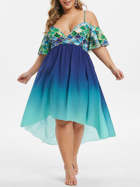Mermaid Scales Open Shoulder Ombre Plus Size Dress