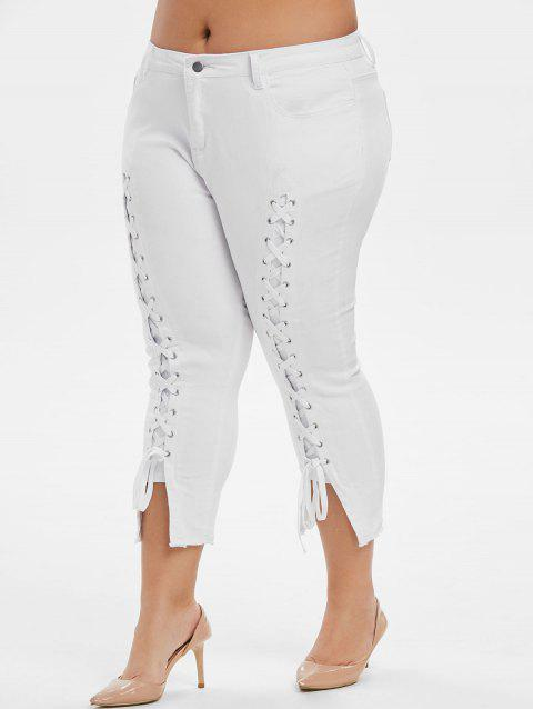 Plus Size Lace Up Frayed Cropped Jeans - WHITE L