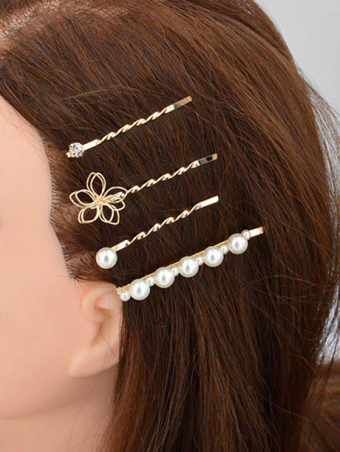 4Pcs Hollow Flower Faux Pearl Hairpin Set - GOLD