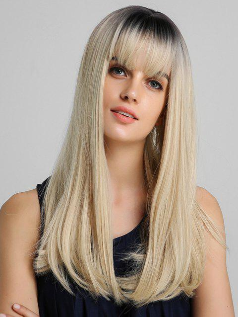 Ombre Neat Bang Straight Long Synthetic Wig - multicolor
