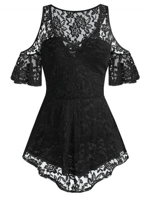 Plus Size Lace See Thru Open Shoulder Criss Cross Tee - BLACK 3X