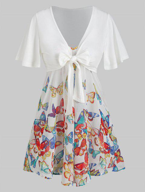 Front Knot Top And Butterfly Print Swing Cami Set - multicolor H XL