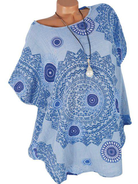 Printed Batwing Curved Plus Size Blouse - SEA BLUE 3X