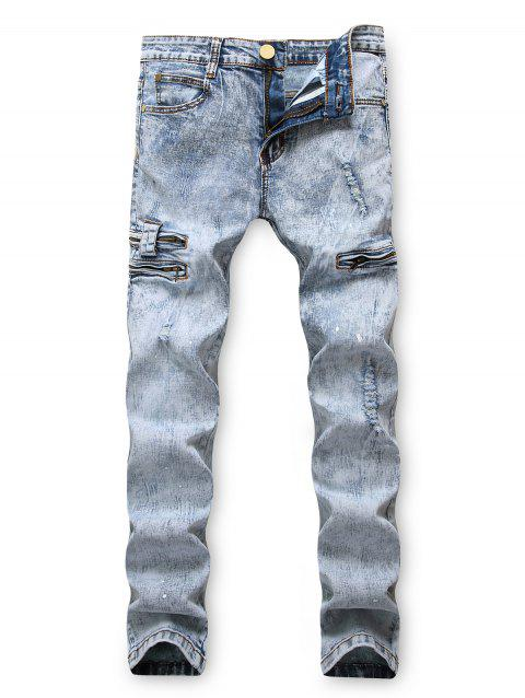 Zipper Decoration Leisure Ripped Jeans - JEANS BLUE 42