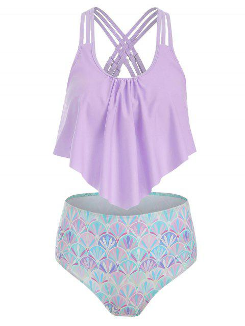 Strappy Flounce Overlay Mermaid Tankini Swimsuit - LILAC L