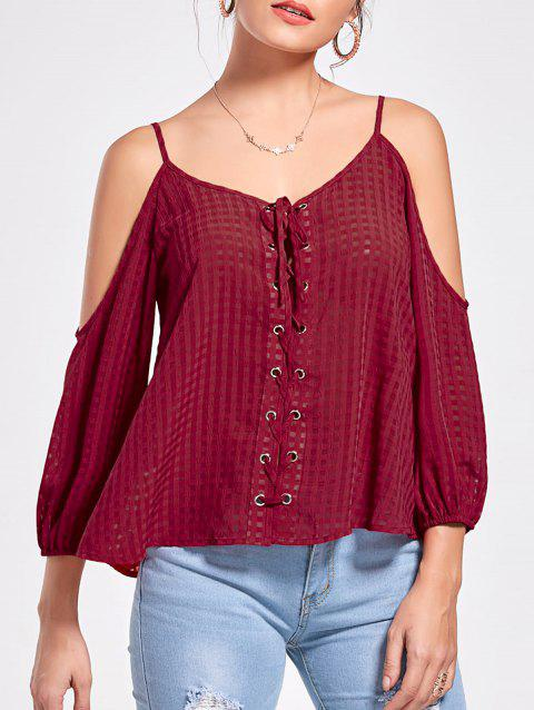 Gingham Lace Up Cold Shoulder Blouse - RED WINE 2XL