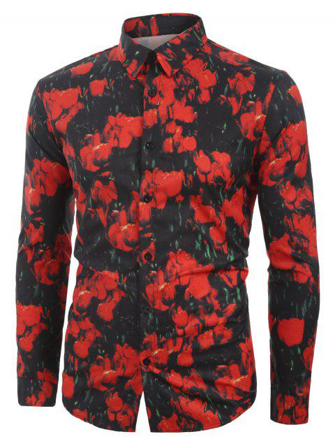 Floral Printed Casual Button Long Sleeves Shirt - BLACK 2XL
