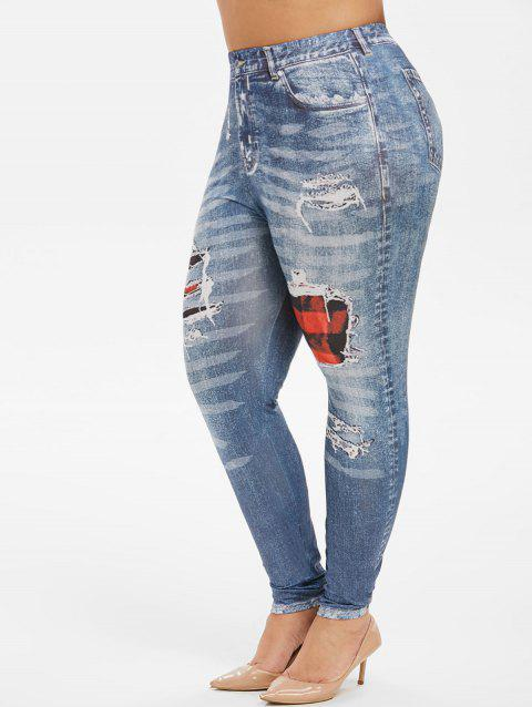 Plaid Panel Printed High Waisted Plus Size Jeggings - BLUE 5X