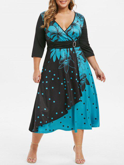 Plus Size Floral Polka Dot Surplice O Ring Dress