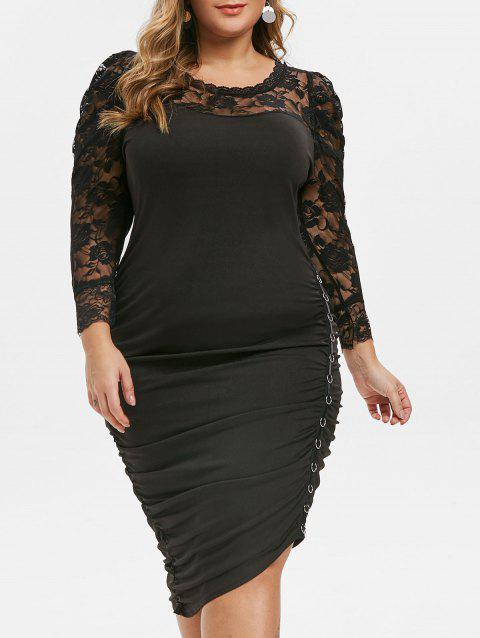 Plus Size Lace Panel O-ring Ruched Bodycon Dress - BLACK 5X