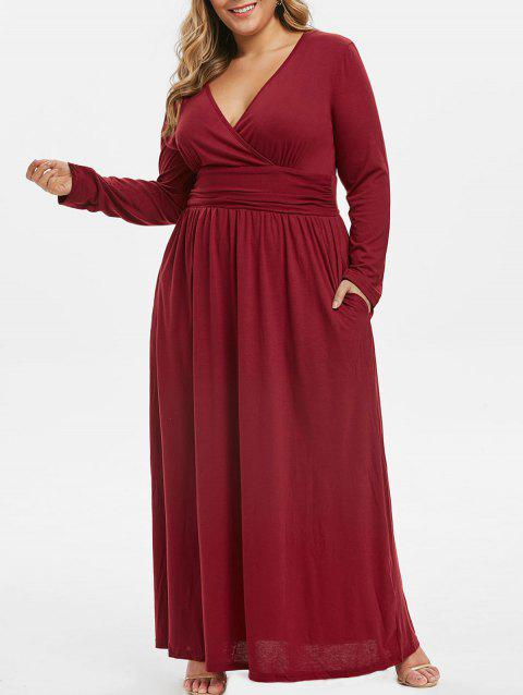 Seam Pockets Ruched Surplice Plus Size Maxi Dress - RED WINE L