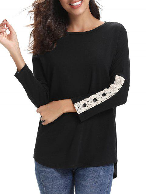 Lace Panel Buttons Longline Tee - BLACK 2XL