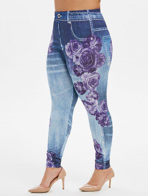 Plus Size High Waist Floral Print Jeggings - DENIM DARK BLUE L
