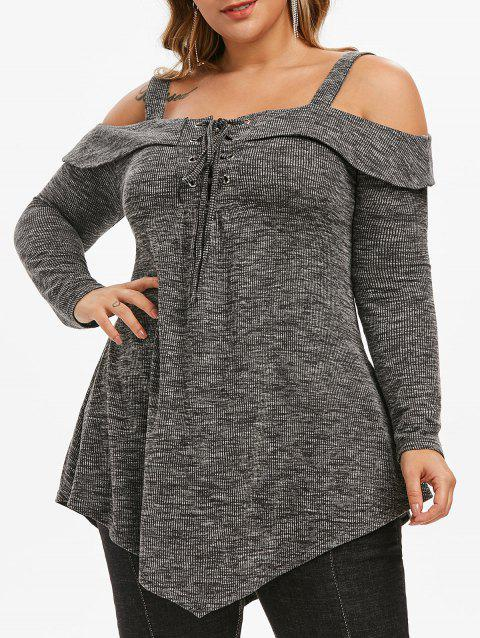 Space Dye Ribbed Open Shoulder Lace Up Plus Size Top - DARK GRAY 5X