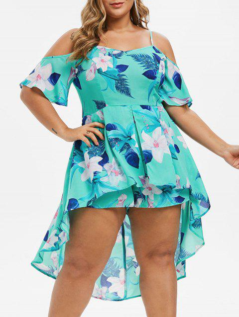 Plus Size Floral Print Overlay Cami Romper - TURQUOISE 3X
