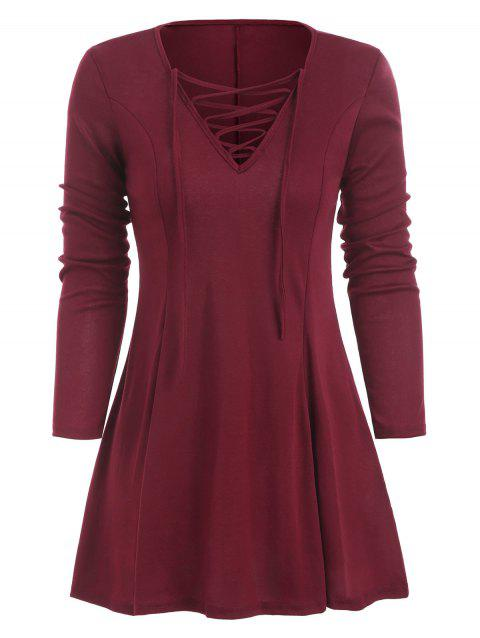 Lace Up Plunging Longline T-shirt - RED WINE XL