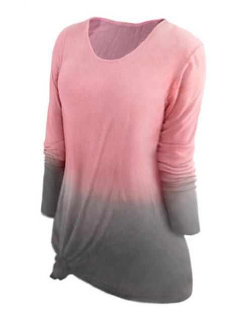 Plus Size Dip Dye Long Sleeve Stretch Tee - PINK 4X