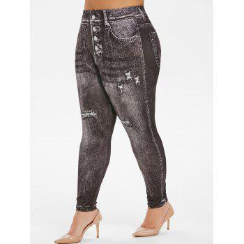 Faded 3D Printed High Waisted Plus Size Jeggings
