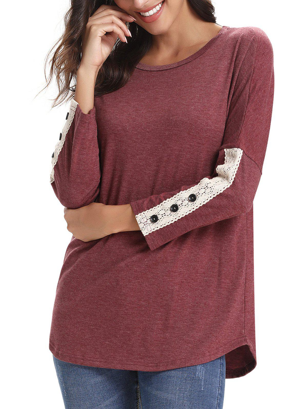 Lace Panel Buttons Longline Tee