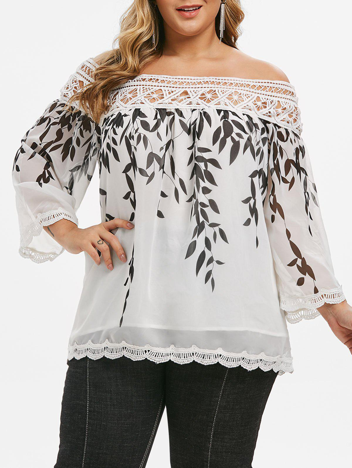 Leaves Print Crochet Lace Panel Scalloped Plus Size Blouse - WHITE L