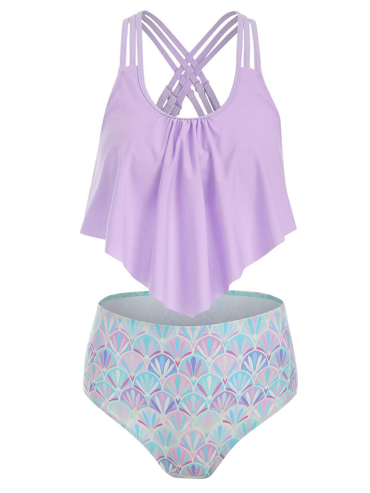 Strappy Flounce Overlay Mermaid Tankini Swimsuit - LILAC 3XL
