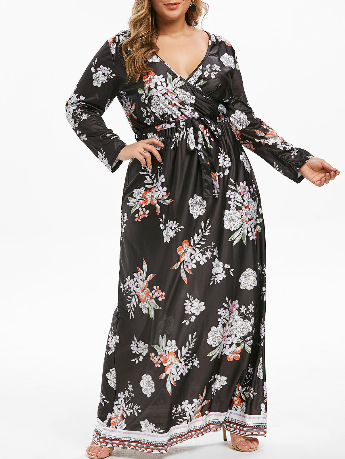 Plus Size Floral Imprimer V Neck Belted Maxi Dress - Noir 4X
