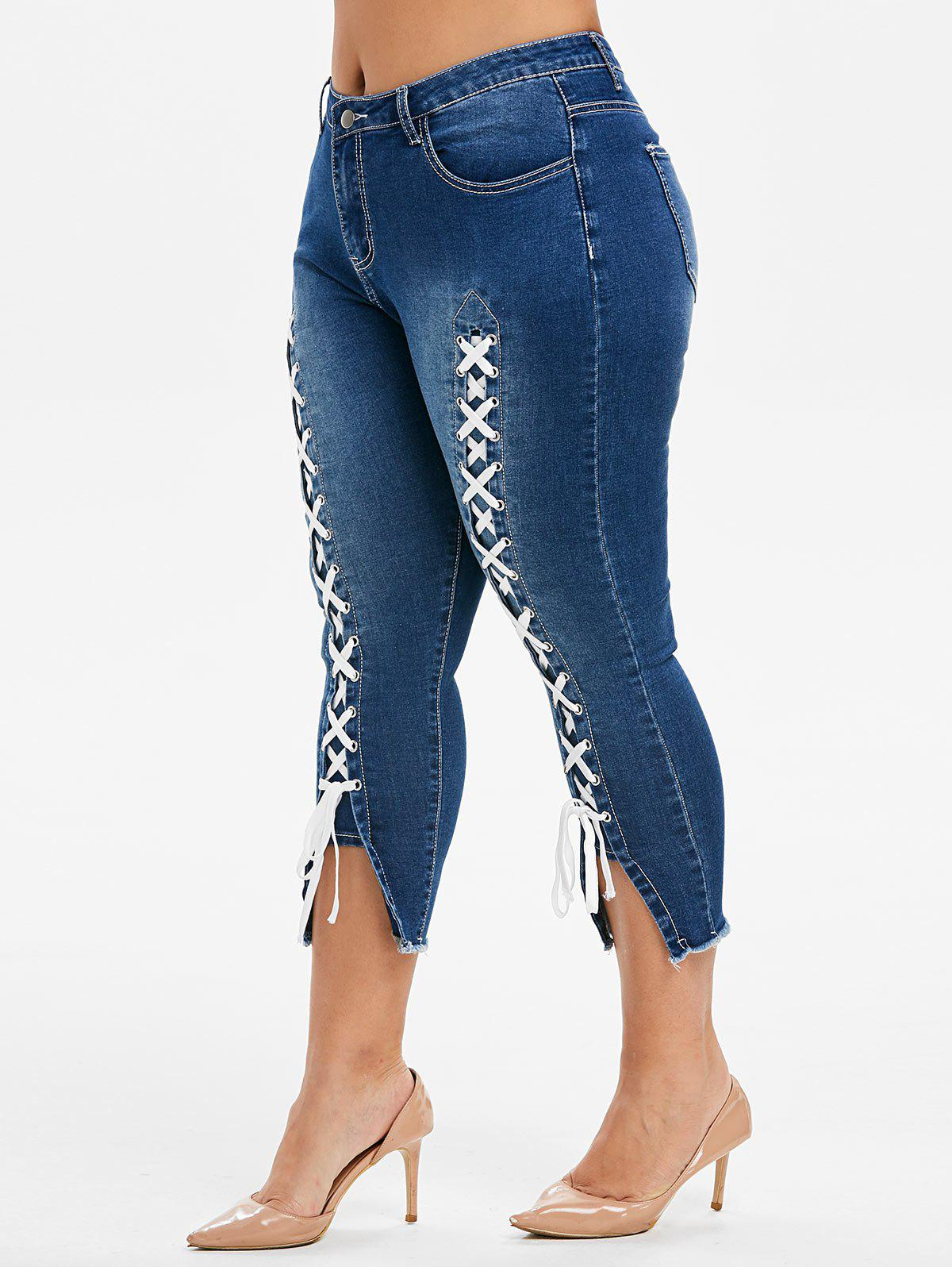 Plus Size Lace Up Frayed Cropped Jeans - DENIM DARK BLUE 2X
