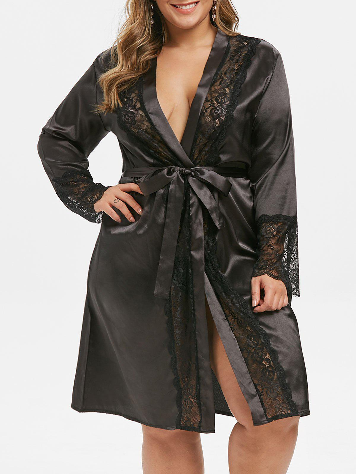 Plus Size Satin Belted Lace Panel Robe - BLACK 1X