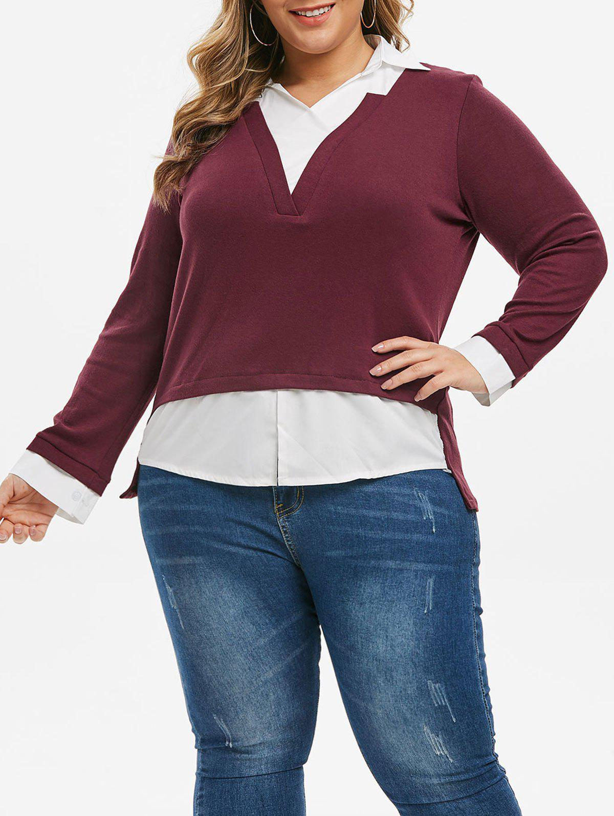 Plus Size Contrast Color Dip Hem Faux Twinset Knitwear - RED WINE 1X