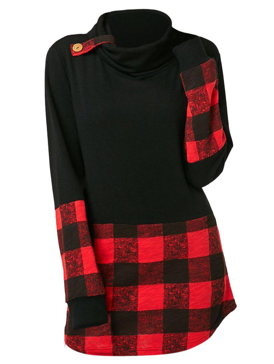 Plus Size Long Sleeve Plaid Cowl Neck T-shirt
