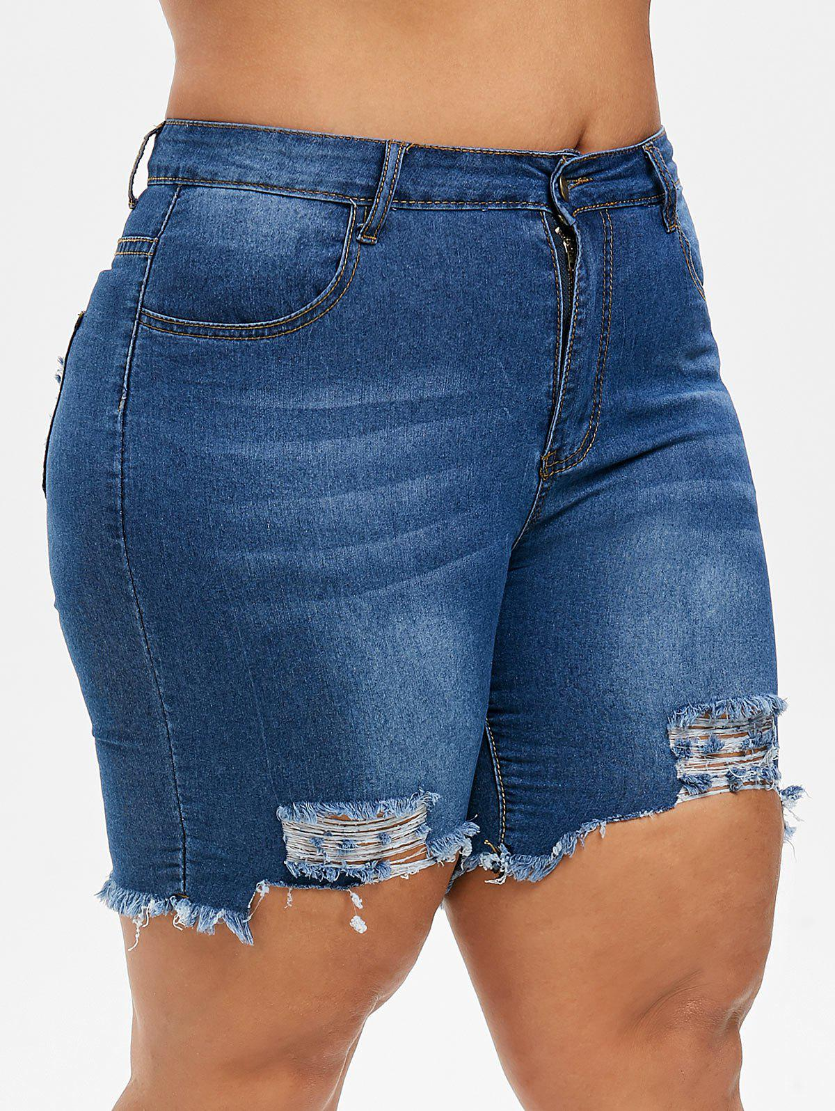 Plus Size Ripped Uneven Hem Jean Shorts - LAPIS BLUE M