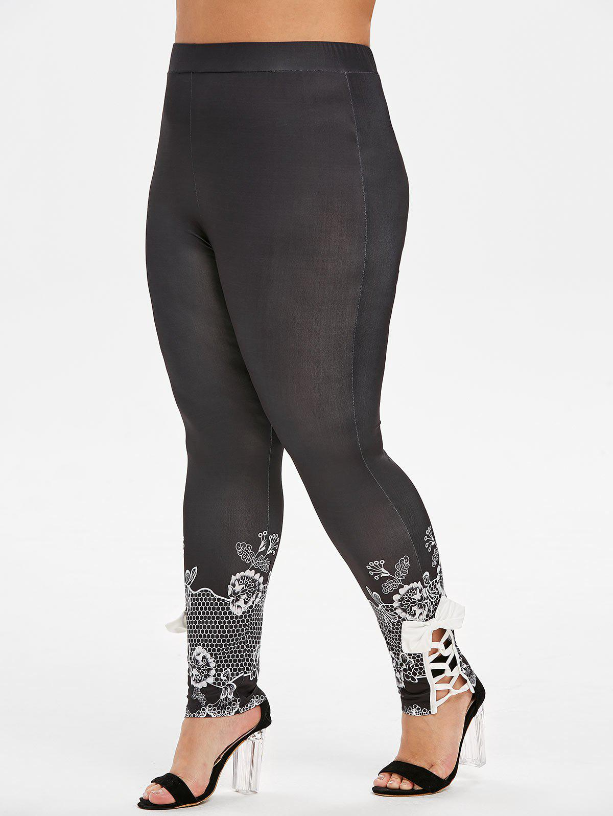 Plus Size bowknot Lattice Panel Leggings Imprimer Fleur - Noir L