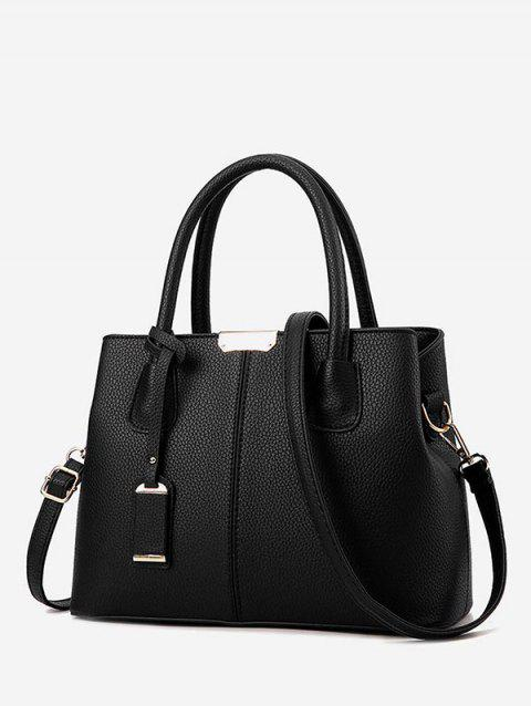 Simple Solid Daily Crossbody Handbag - BLACK