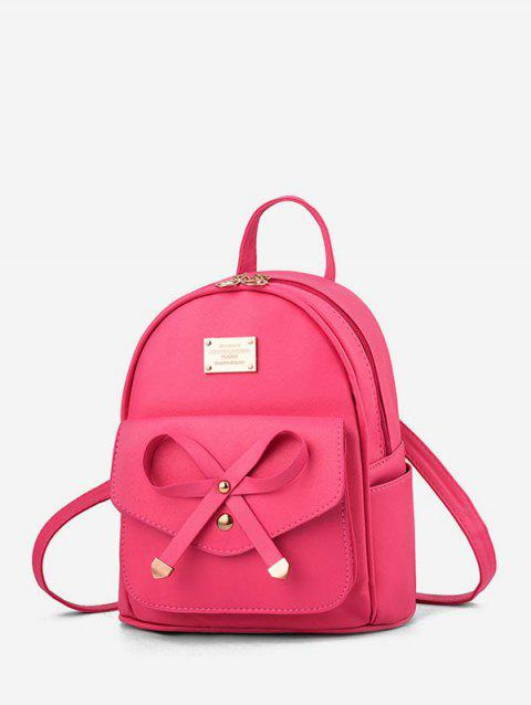 Collège Style Bowknot PU Sac à dos - Rouge Rose