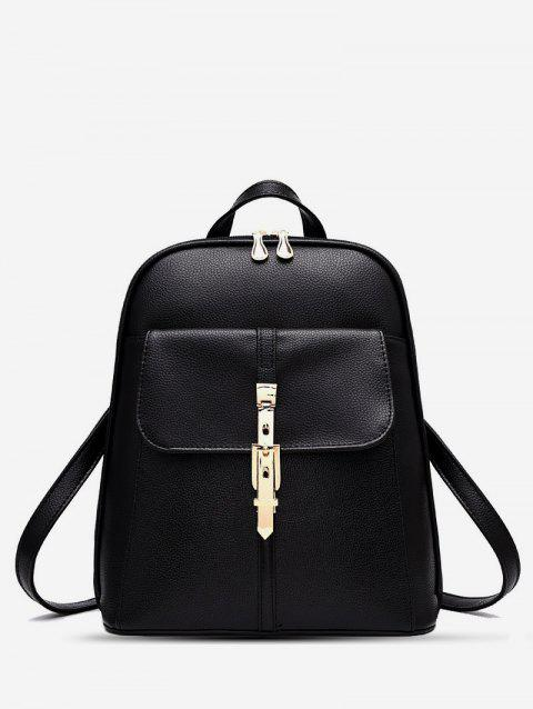 Brief College Student Buckle Backpack - BLACK