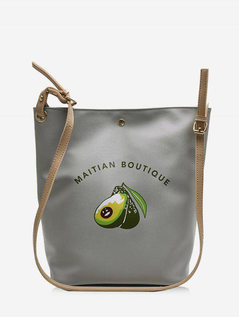 Avocado Print Big Single Shoulder Bag - GRAY