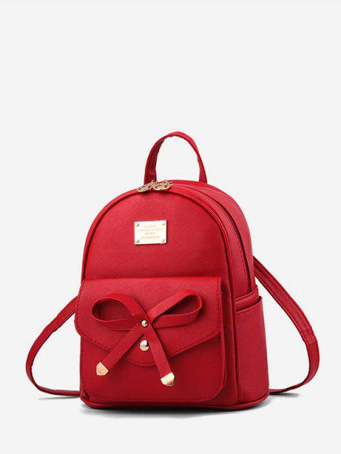 College Style Bowknot PU Backpack - ROSSO RED