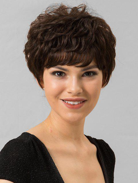 Short Human Hair Straight Side Bang Wig - BROWN