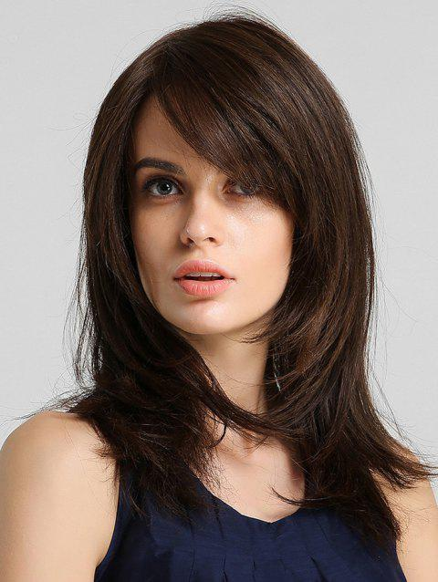 Side Bang Straight Synthetic Hair Extension with Lace Closure - BROWN