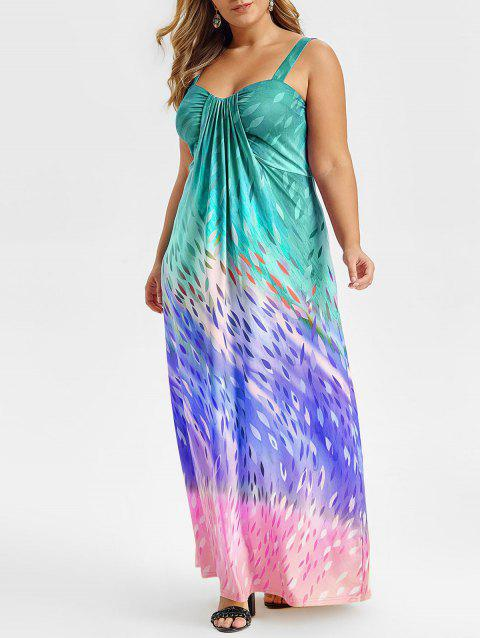 Plus Size Teardrop Print Sleeveless Maxi Dress - MACAW BLUE GREEN L