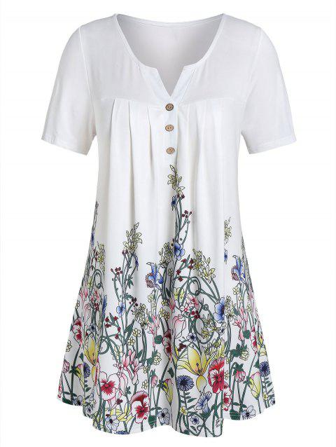 Plus Size Floral Print Buttons V Neck Tee - WHITE 4X